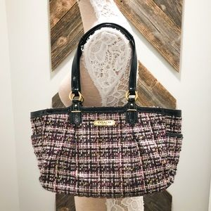 NWOT Coach 'Gallery' Multi Tweed/ Patent Leather
